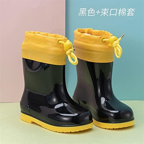 LUBINGT Rain Boots Children's Rain Shoes Girl's Cartoon Anti-Slip Kid's Rain Boots Water Shoes Baby Pink Black Shoe Boy's Rubber (Color : 20, Shoe Size : 27(Inner 17cm))