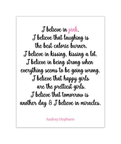 Audrey Hepburn Quote I Believe in Pink Wall Art Print Fashion Decor ((Unframed)) 8x10