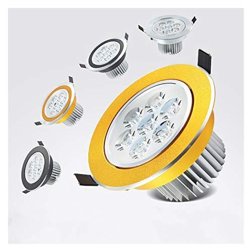 YSDSPTG Downlight 1pcs rund dimmbare LED-Einbauleuchte Licht Decken Spot-Licht 3w 6w 10w 14w 18w ac110-230V Deckeneinbauleuchten Innenbeleuchtung (Body Color : Gold, Emitting Color : 6000K)