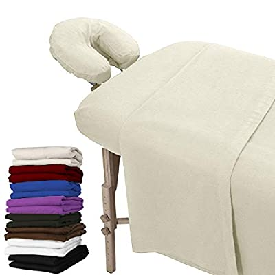 London Linens Extra Thick 100% Cotton Flannel Massage Table Cover Sheet 3 Piece Set (Natural)