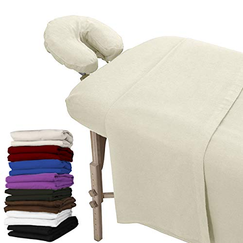 London Linens Extra Thick 3 Set Massage Table Sheets Set - 100% Natural Cotton Flannel - Includes Massage Table Cover, Massage Fitted Sheet, and Massage Face Rest Cover (Natural)