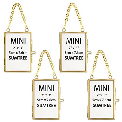 SUMTREE 4 marcos de fotos mini rectangulares de metal y cristal, para...