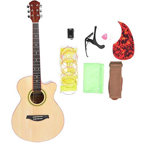 Akustikgitarre mit Stimmgerät, Handtuch, Tragetasche, Gitarrensaite, Riemen, Capo, dekorativem Aufkleber, Akustikgitarrenset für Anfänger