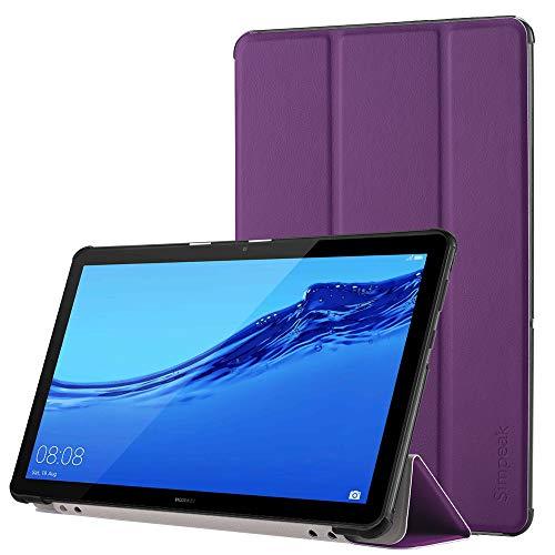 Simpeak Funda Compatible con Huawei MediaPad T5 10 [5 años de garantía], Funda 10.1 Pulgadas Multi-Angulo Cubierta Folio con el Soporte Reposo Automático de Despertador, Purpura