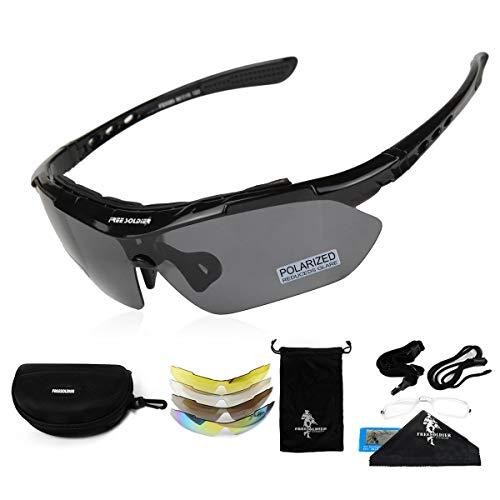 FREE SOLDIER Polaroid Sonnenbrille Herren Fahrradbrille Sportbrille 5 in 1 Taktische Militärische MTB Brille zum Radfahren Fahrt Wandern Fischen Outdoor-Aktivitäten Laufbrille (Schwarz)
