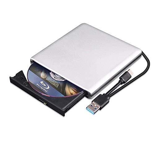 External Blu Ray DVD Drive 3D, USB 3.0 and Type-C Bluray CD DVD Burner Slim Optical Portable Blu-ray Writer for MacBook OS Windows xp/7/8/10, Linux, Laptop PC (Silver-Grey)