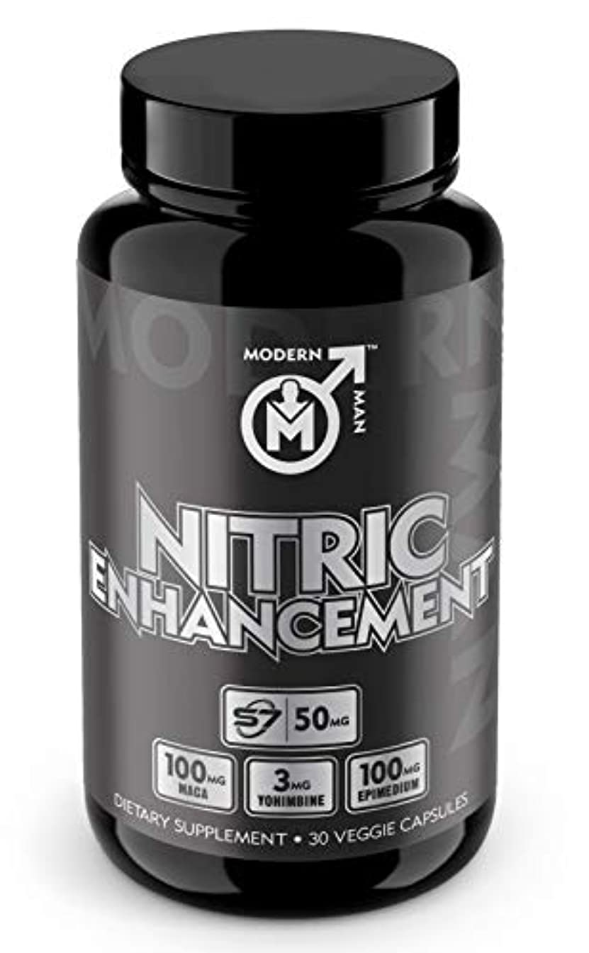 Nitric Oxide Enhancement by Modern Man – Pump Enhancing Alpha Male Booster for Men - Yohimbine HCL, Maca Root | Increase Strength, Size & Stamina | Muscle Gain Supplement - 30 Pills