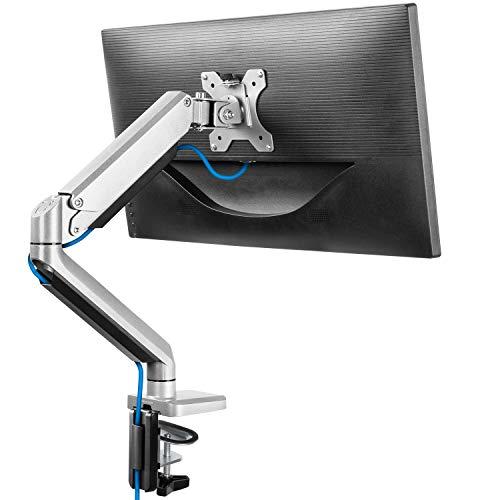 "ErGear Single Monitor Arm Gas Spring for 13""-32' Screen Full Range Motion Design Ergonomic Monitor Stand Monitor Mount Tilt ±45° Swivel 180° Rotation 360° VESA 75/100mm Weight max 8KG - Silver"