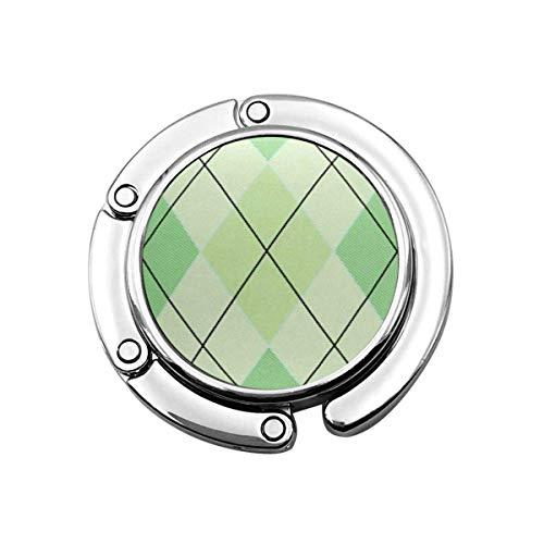 TAIBAO Faltbare Geldbörse Handtaschenhalter, Geldbörsenhaken für Autotisch, Folle Handtaschenaufbewahrung Diamantgrün Argyle Muster Rhombus Abstraktes Kleidungsstück Geometrisches Plaid