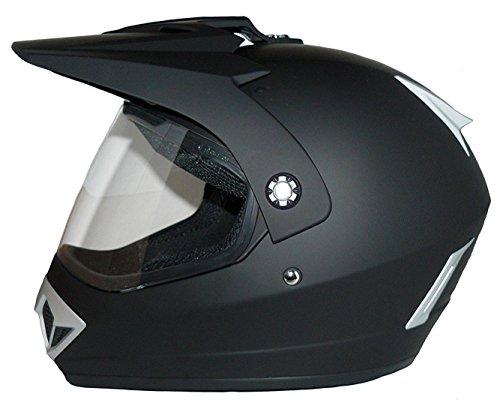 Motorradhelm Motocrosshelm Endurohelm matt-schwarz V370 mit klappbaren Visier - Größe L