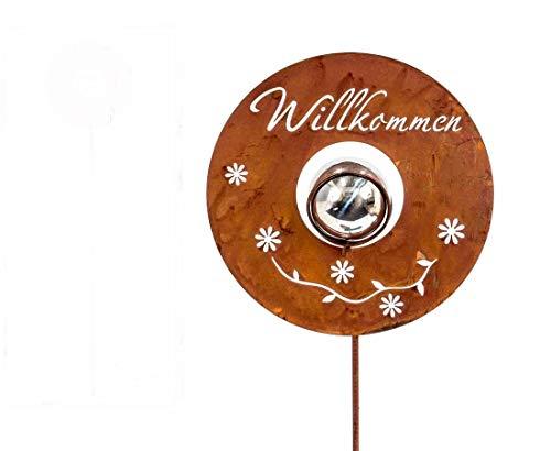 Gartenstecker Willkommen Metall silber/rost H 100 cm Beetstecker Stecker Gartenstab Deko-Stecker