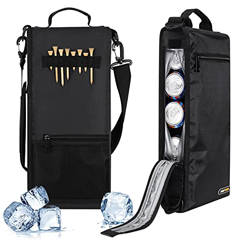 HEYTRIP Golf Cooler Bag 100% Leakproof with Built-in Sealed Zipper Insulated Hidden Beer Sleeve for Golf Bag, Holds 6 Pack of Cans or 2 Bottles of Wine