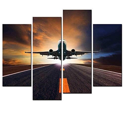 Suwhao voor Woonkamer Huis Decor Canvas 4 Stuks/Set Vliegtuig Vertrek Biplane Schilderen Art Wall Hd Modulaire Foto Prints Poster No frame