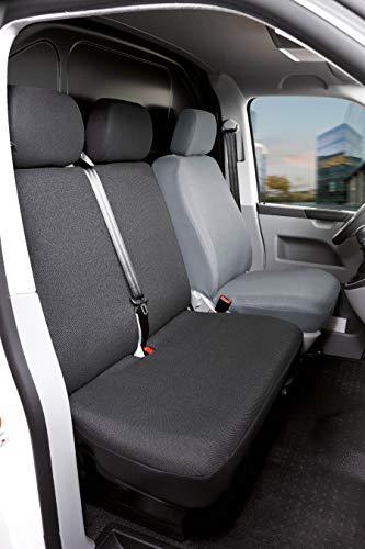Walser Autoschonbezüge Transporter Passform, Polyester Sitzbezug anthrazit kompatibel mit VW T5 (Polyester, Doppelbank vorne umlegbar)