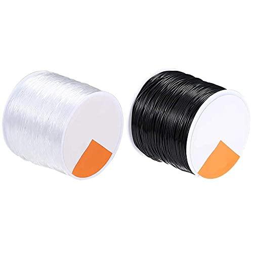 Zonster Cuerdas elásticas elásticas, Kit de Estiramiento Transparente Redondo de 2 Piezas para Hacer Joyas artesanales con Cuentas de Cristal Línea Hilo Transparente Invisible Wire