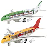 ArtCreativity Diecast Pullback Super Jumbo Airplanes with 3D Anatomy View, Set of 2, Die Cast Metal Cargo and Passenger Airplane Toys for Kids, Aviation Themed Party Decorations, Best Birthday Gift