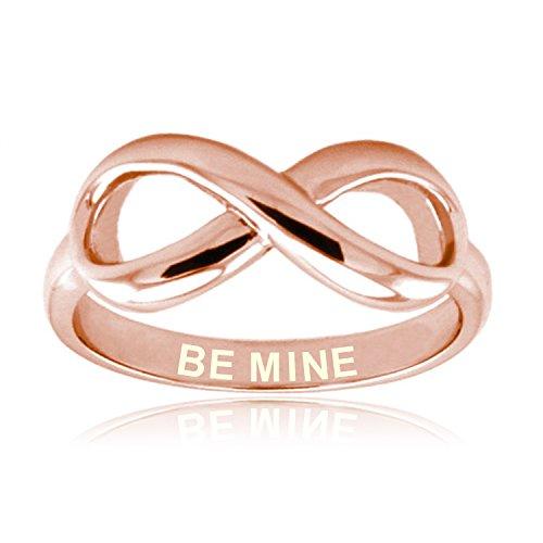 Be Mine (Sea Los Míos) de Rosa de Oro Plata Esterlina Anillo Infinito Grabado - Tamaño 9