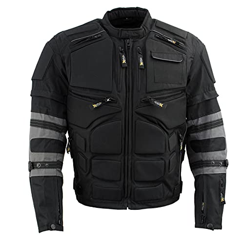 Xelement CF5050 Men's 'Morph' Black and Grey Tri-Tex Armored Jacket with Removable Sleeves - 2X-Large