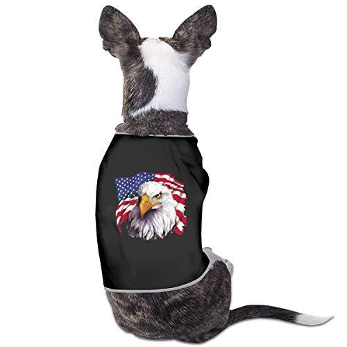 Florasun American Flag National Symbol Adler Mode Haustier Kleidung Hund Shirt für Katzen und kleine Hunde Katze Weste Kleidung Welpen Kostüme Schwarz M