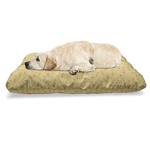 ABAKUHAUS Hotdog Haustierbett, Sandwich Blätter Triangles, beissfestes Kissen für Hunde und Katzen mit abnehmbaren Bezug, 60 cm x 100 cm, Pale Camel Multicolor
