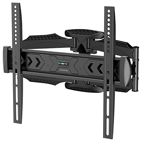 ATUMTEK TV Wall Mount Full Motion Swivel Extension Tilt Rotation for Most 23-55 Inch Flat Curved TVs, Ceiling TV Bracket with Dual Articulating Arms, Max VESA 400x400mm, Holds Up to 80lbs