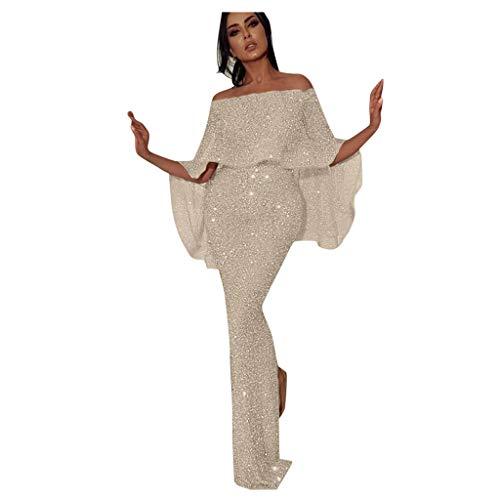PPangUDing Abendkleider Damen Sexy Schulterfrei A-Linie Quaste Figurbetont Glänzend Paillettenkleid Maxikleider Cocktailkleid Partykleid Hochzeitskleid Ballkleid Festliches Kleid