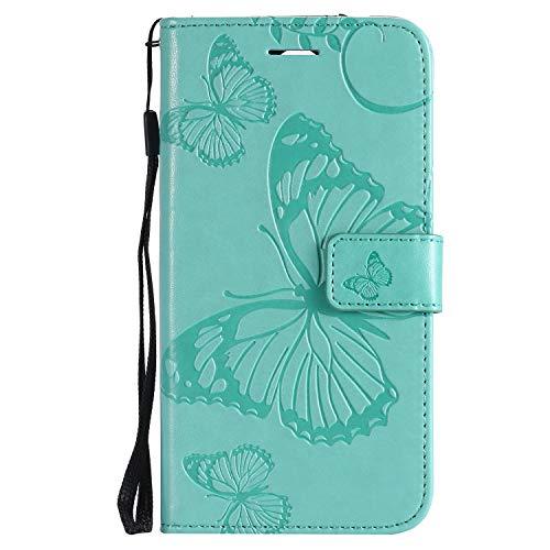 Leder Wallet Case für LG K9 / LG Candy Flip Case Schutzhülle Stoßfest Cover mit Magnetverschluss Standfunktion Kartenfächer für LG K9 / LG Candy - JEKT041397 Grün