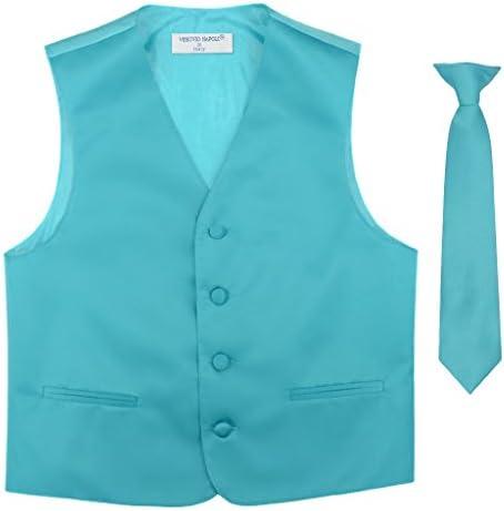 BOY S Dress Vest NeckTie Solid TURQUOISE AQUA BLUE Color Neck Tie Set size 4 product image