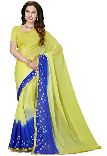 Ishin Poly Chiffon Green & Blue Bandhani Printed With Lace Party Wear Wedding Wear Casual Wear Festive Wear New Collection Latest Design Trendy Women's Saree/Sari