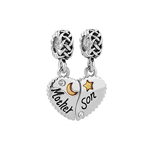 MiniJewelry Mother Son Love Heart Charm for Bracelets Star Moon Compatible with Pandora Charms Bracelet, 2PCS