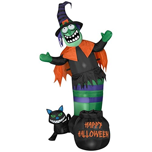 Gemmy Airblown Inflatable Animated Wobbling Witch and Cat Scene - Indoor Outdoor Decorations, 5.5-foot Tall x 3.5-foot Wide