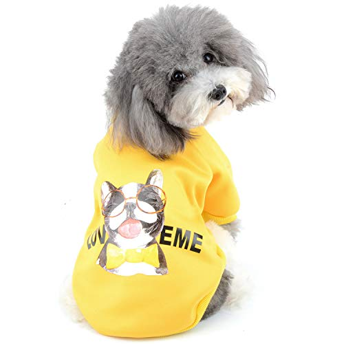 Zunea Sudadera para Perros Pequeños Ropa de Invierno Cálido Abrigo Jersey Suéter de Algodón Acolchado para Cachorros Mascotas Chihuahua Yorkshire Gatos para Clima Frío Amarillo S