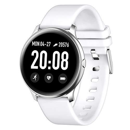 RanGuo - Reloj Inteligente para Hombres Mujeres y niños, Deportes al aire libre impermeable Smart Watch para sistema Android y iOS, Apoyo recordatorio de llamada y recordatorio de mensaje (Blanco)