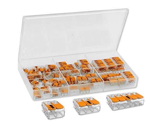 WAGO Klemmen (61 Stück) Sortiment, Set bestehend aus: 27x 221-412 - 20x 221-413 - 14x 221-415 in übersichtlichem Sortimentskasten geordnet