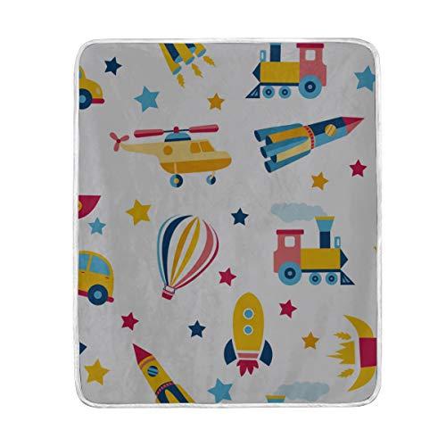 "ZHRX Throw Blanket Pattern Colorful Transport Cute Children Soft Blanket Warm Plush Blanket for Sofa Chair Bed Office Gift Best Friend Women Men 50""x60"" L"