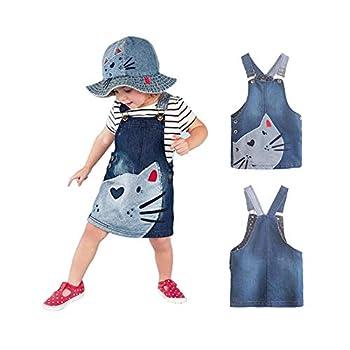 Toddler Baby Girl Big Bibs Adjustable Straps Cat Print Denim A-line Overall Tutu Dress Suspender Skirts Summer Outfits  Denim Blue 2-3 Years