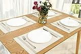 OUME Tischsets Abwischbar 6er Set Platzset Abwaschbar PVC rutschfest Abgrifffeste Hitzebeständig Platzdeckchen für Zuhause Restaurant, 30 x 45cm ( Beige) - 5