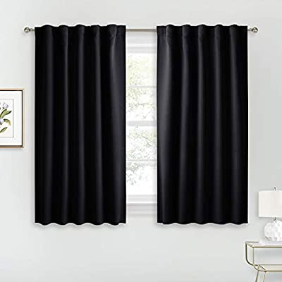 RYB HOME Bedroom Blackout Curtains - Small Window Treatment Set Energy Saving Thermal Insulated Drapes for Living Room/Nursery/Kitchen, 42-inch Wide x 45-inch Long, Black, 2 Panels
