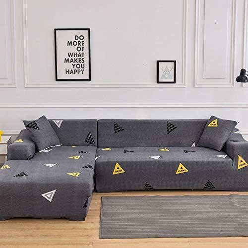 WXQY Funda de sofá elástica para Sala de Estar, Funda de sofá con patrón de Sarga Antideslizante, se Puede Utilizar para el sofá Chaise Longue en Forma de L A6 de 4 plazas