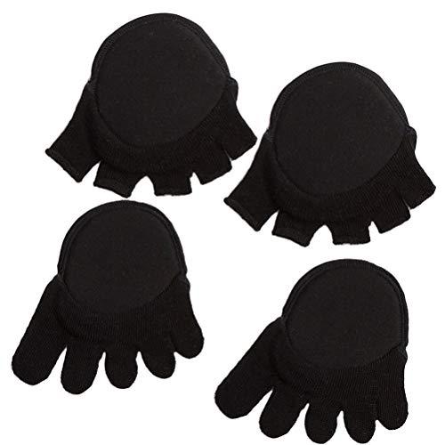 SUPVOX Almohadillas del antepié Invisible bola de tela del amortiguador del pie medias calcetines del barco para las mujeres niñas 2pairs