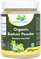 Grazing Meadows Organic Brahmi Powder/Bacopa monnieri/Hair Growth & Memory Support - 200gms