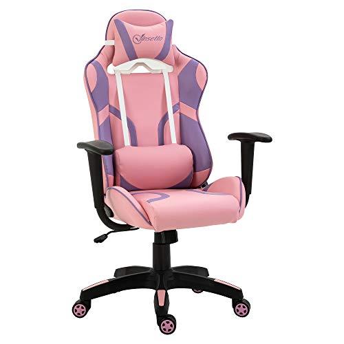 Vinsetto Ergonomischer Gaming Stuhl Bürostuhl Drehstuhl Verstellbares Massage Lendenkissen Höhenverstellbar Rosa&Violett 69x56x125,5 cm
