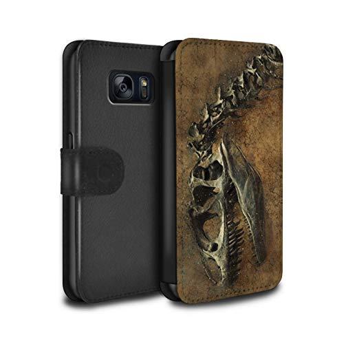 eSwish PU-Leder Hülle/Case/Tasche/Cover für Samsung Galaxy S7/G930 / Prähistorisches Fossil Muster/Dinosaurier Jurassic Earth Kollektion