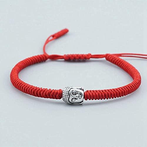 Handmade Knots Rope Bracelet Tibetan Buddhist Prayer Bead Lucky Charm Tibetan Bracelets & Bangles For Women Men-Red