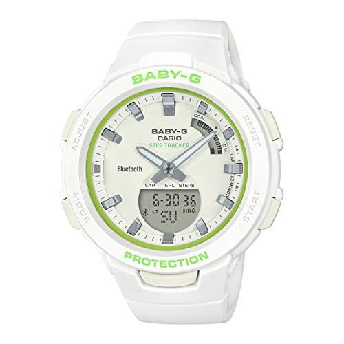 CASIO Damen Analog-Digital Quarz Uhr mit Harz Armband BSA-B100SC-7AER, Grün-Weiß