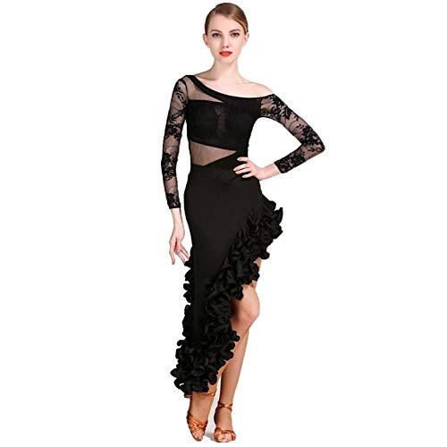 Disfraz De Baile Latino Adulto Competicin De Entrenamiento Para Mujer Vestido De Encaje Tulle Drapeado Camisa De Manga Larga Falda De Baile Latino (Color : Black, Size : S)