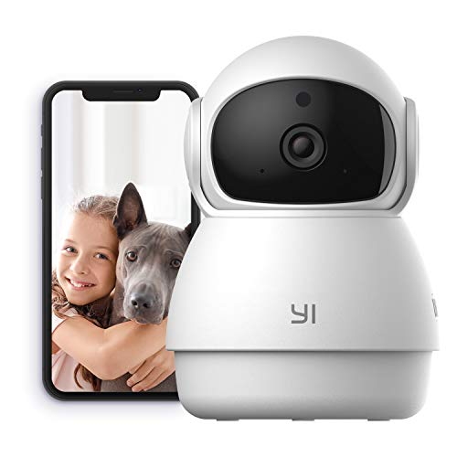YI Indoor Wireless WiFi Security IP Camera Dome Guard, Smart Nanny Pet Dog Cat Cam Baby Monitor with Night Vision, 2-Way Audio, Motion Detection, 360-degree, Phone App, Works with Alexa and Google