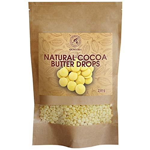 Gotas de Manteca de Cacao 250g - Theobroma - Manteca de Cacao/Grado Alimenticio - Manteca de Cacao Cruda - Cacao Nibs - Raw Sin Refinar Manteca de Cacao - Pastillas Hornear - Antioxidantes