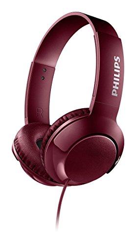 Philips Audio Bass+ SHL3070RD - Auriculares con Cable (Bajos Potentes, Plegables, Ligeros y Elegantes), Rojo