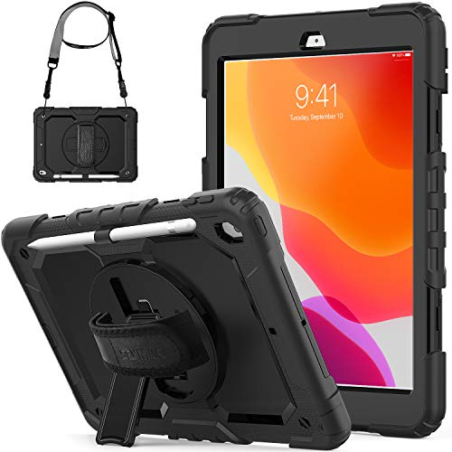 iPad 8th Generation 2020 Case/ 7th Generation 2019 Case, iPad 10.2 Case, SEYMCY Shockproof Sturdy Case 360 Rotating Hand Strap/Kickstand/Screen Protector for iPad 7th/8th Gen 10.2 2019/2020, Black
